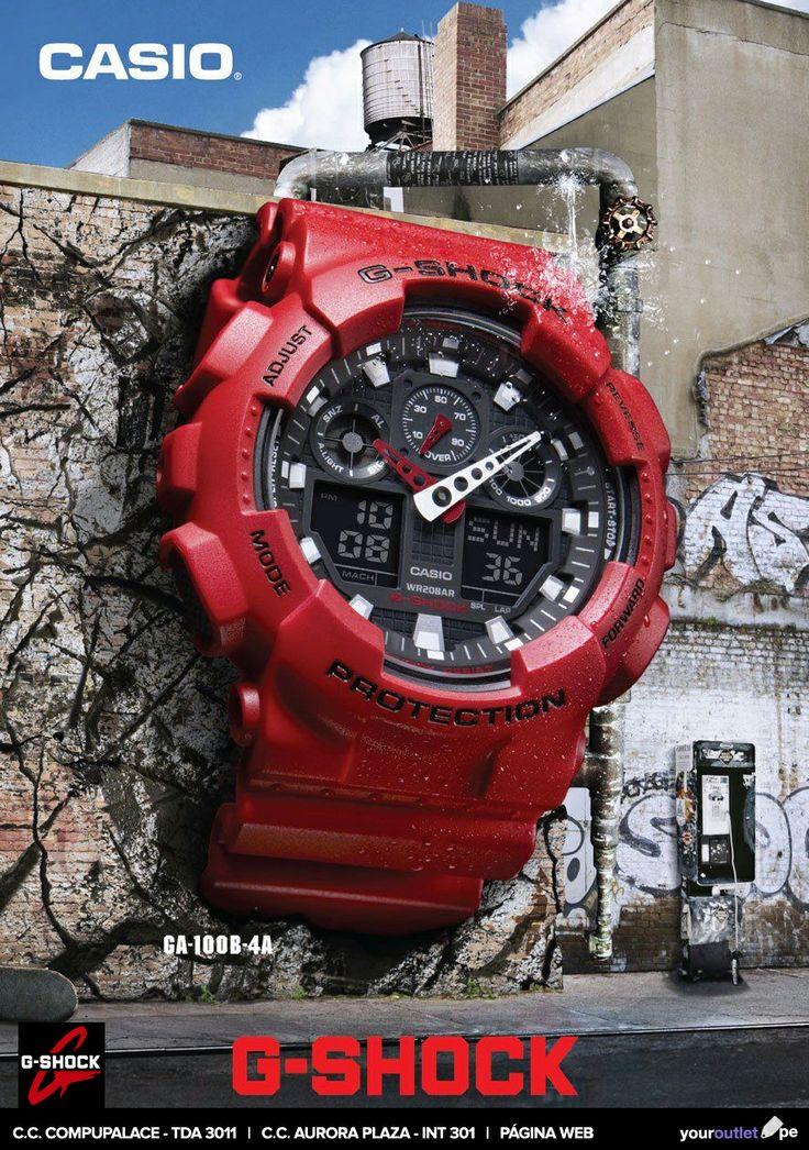 Casio G-Shock GA-100B-4A. Juvenil, resistente y ahora en color rojo. Ven a nuestras tiendas o haz tu compra en línea al mejor precio. Enviamos a todo el Perú.