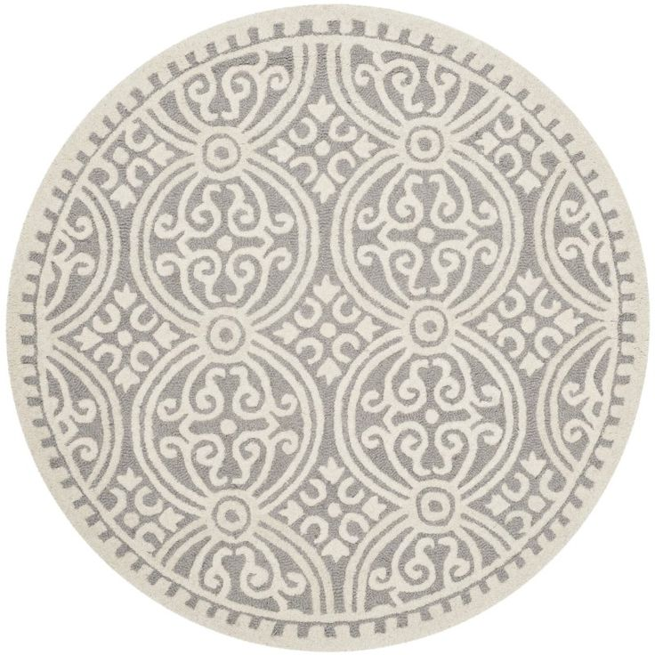 Safavieh Cambridge Collection CAM123D Handmade Silver and Ivory Wool Round Area Rug, 4 feet in Diameter (4' Diameter)