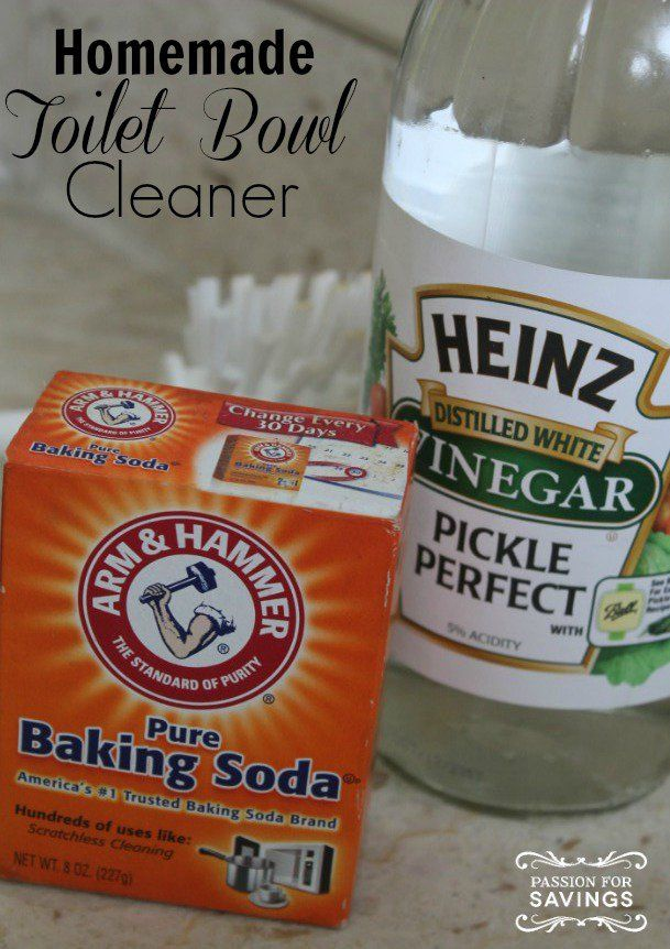 Commode clean - Remove the dirty water ring from a toilet using baking soda and vinegar.
