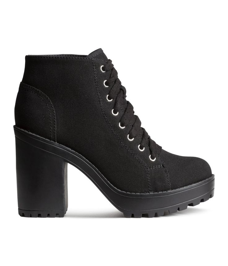 Platform ankle boots in canvas with laces at front, fabric lining, and rubber soles. | H&M Shoes