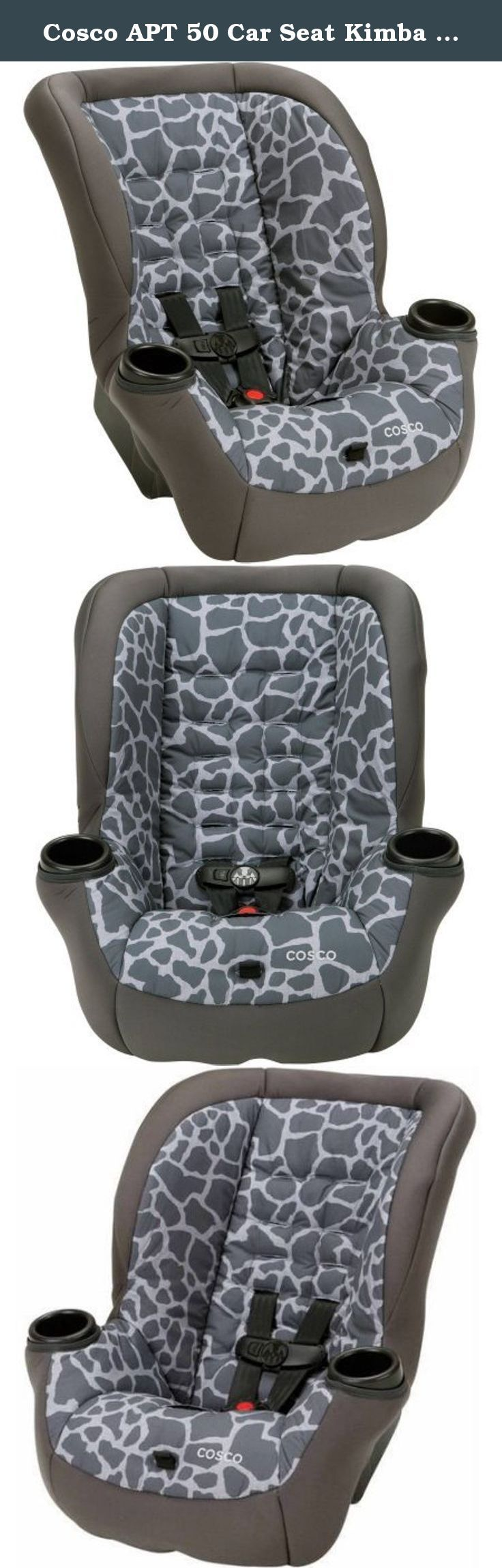 Cosco APT 50 Car Seat Kimba Giraffe. With the Cosco Apt 50 Convertible Car Seat, your kids will ride longer - all the way to 50 pounds. Rear-facing to 40 pounds and forward-facing to 50, the Apt 50 keeps them safer during every stage with Side Impact Protection. Theres also six harness heights and three buckle locations for the best fit as they grow. With kids in the car, messes happen. Now, thanks to the easy-to-clean car seat pad, theres no need to stress. The pad comes in a wide range…