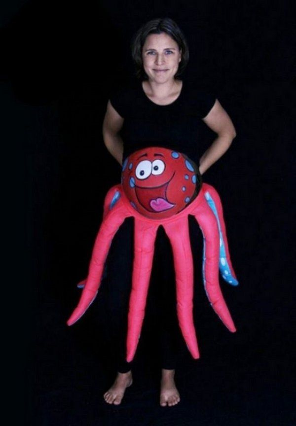 creative diy maternity halloween costumes octopus belly make up - Pregnant Halloween Couples Costumes