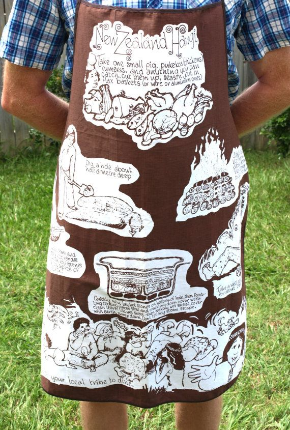New Zealand Hangi Apron  Vintage Barbecue or BBQ by FunkyKoala