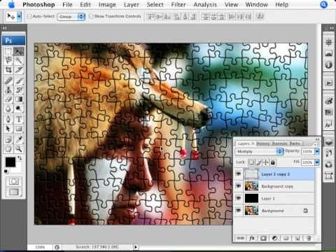 Learn Photoshop - How to Transform a Photo into a Puzzle - YouTube