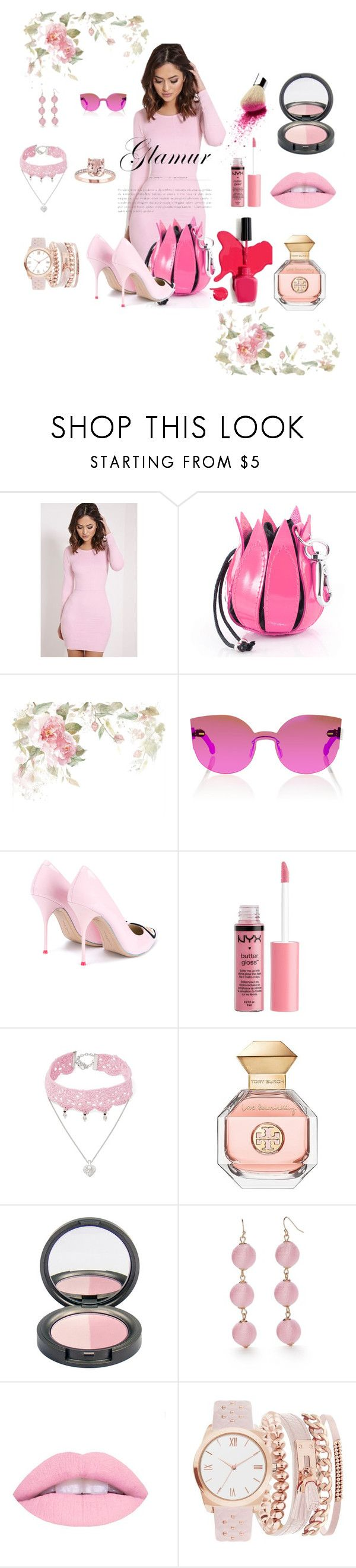 """""""50 shades of pink"""" by faraastyle ❤ liked on Polyvore featuring RetroSuperFuture, Sophia Webster, Charlotte Russe, Design Lab, Tory Burch, New Directions, A.X.N.Y. and monochromepink"""