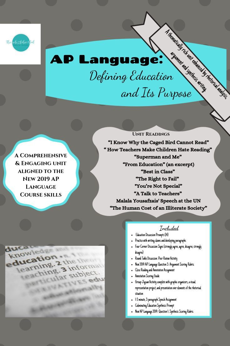 Ap Language Defining Education Its Purpose Aligned W The 2019