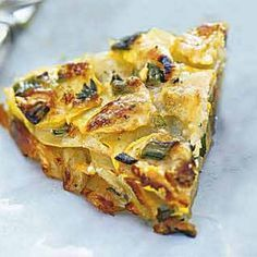 Herbed Summer Squash and Potato Torte with Parmesan Recipe Side Dishes with green onions, grated parmesan cheese, all-purpose flour, chopped fresh thyme, salt, ground black pepper, yukon gold potatoes, yellow crookneck squash, olive oil