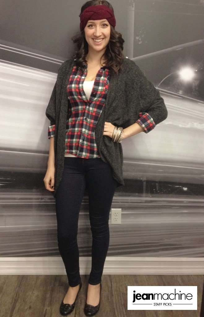 For chilly days Sara picks @mavicanada  Serena Low-Rise Deep Sateen Dark Rinse, BLVD Plaid Shirt With Roll Up Sleeves, Level 33 Off-White Seamless Tank, and Promesa Brushed Knit Open Cardigan. #StaffPicks