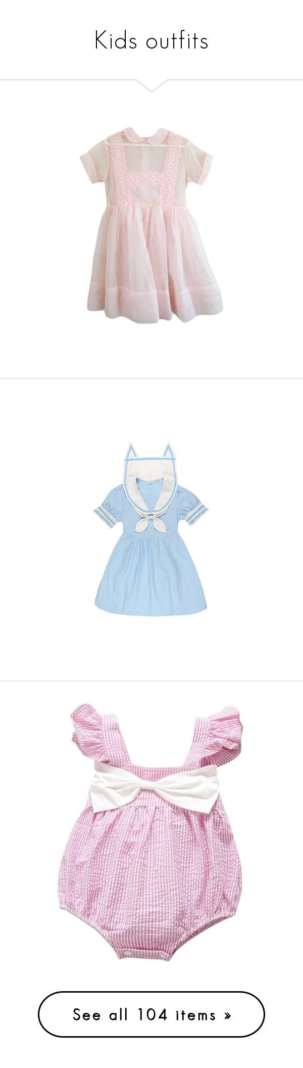 """""""Kids outfits"""" by unicornchaby ❤ liked on Polyvore featuring dresses, clothing - ss dresses, pastel, pastel pink dresses, pink dress, pastel dress, blue, blue color dress, blue dress and shorts"""