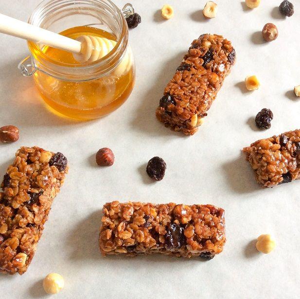 barres aux céréales flapjacks miel noix fruits flocons d'avoine