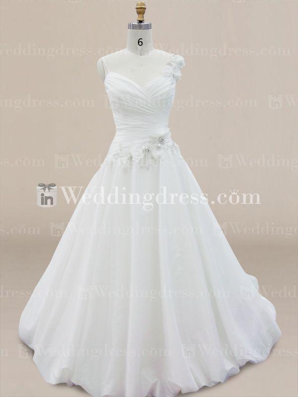 Robe de mariée modestes avec bretelles floraux et ourlet bulle DE272N