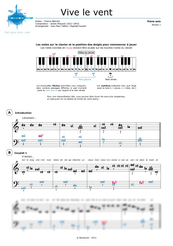 40 best musique images on pinterest pianos music sheets and tablature - Le vent nous portera chords ...