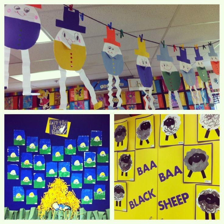 Nursery rhymes bulletin boards in kindergarten. Humpty Dumpty, Little Boy Blue, and Baa Baa Black Sheep.