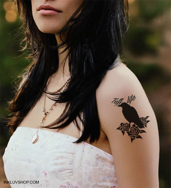 The #crow reminds you to have #fun while you're working to understand life and how you fit into the cosmos.  Check out more #Birds & #Butterflies Temporary #Tattoos at http://inkluvshop.com for just Rs. 150.  #fortheloveofit - @Inkluv