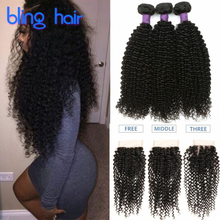 Peruvian Kinky Curly Hair With Closure 3/4 Bundles 8A Peruvian Kinky Curly Virgin Hair With Closure 100% Human Hair With Closure ** Read more reviews of the product by visiting the link on the image.