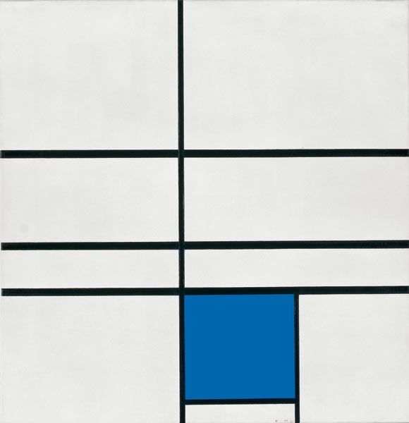 Piet Mondrian - Composition with Double Line and Blue, 1935 - Oil on canvas, 72.5 x 70 cm