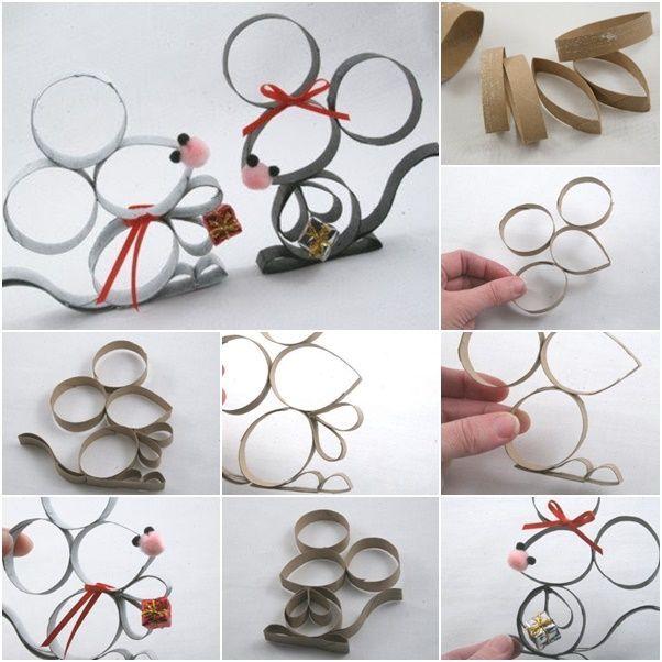 Fabriquer des souris décoratives avec du rouleau de papier toilette