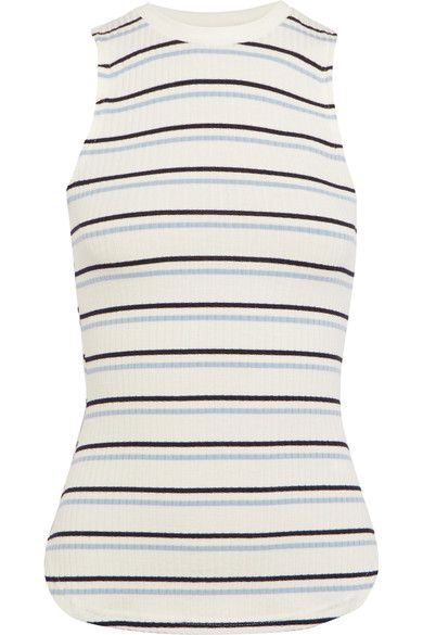 FRAME - Striped Ribbed Stretch-jersey Tank - White - x small