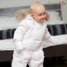 harvey ve bo bebek bebek tek parça kat aşağı rakun kürk yaka erkek kız bebek romper sıcak sonbahar kış bebek snowsuit