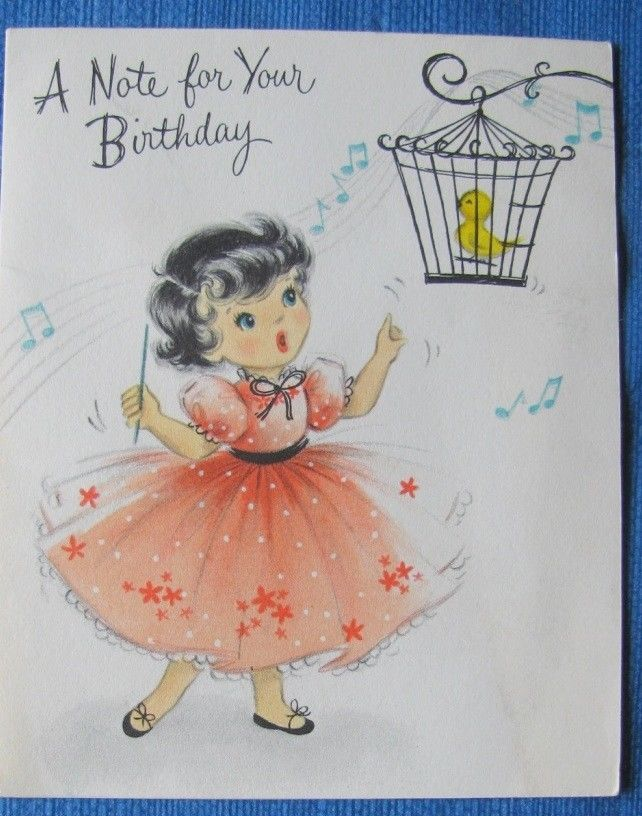 GIRL IN PINK DRESS WITH SINGING BIRD VINTAGE BIRTHDAY GREETING CARD