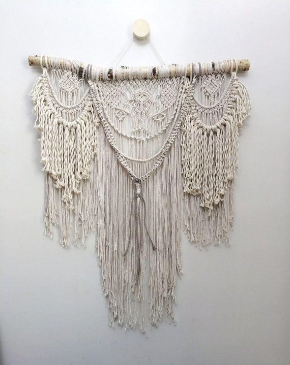 32 « extra Large suspension en macramé, bohème tenture, rideau en macramé, décor en macramé, décoration hippie, livraison gratuite aux États-Unis