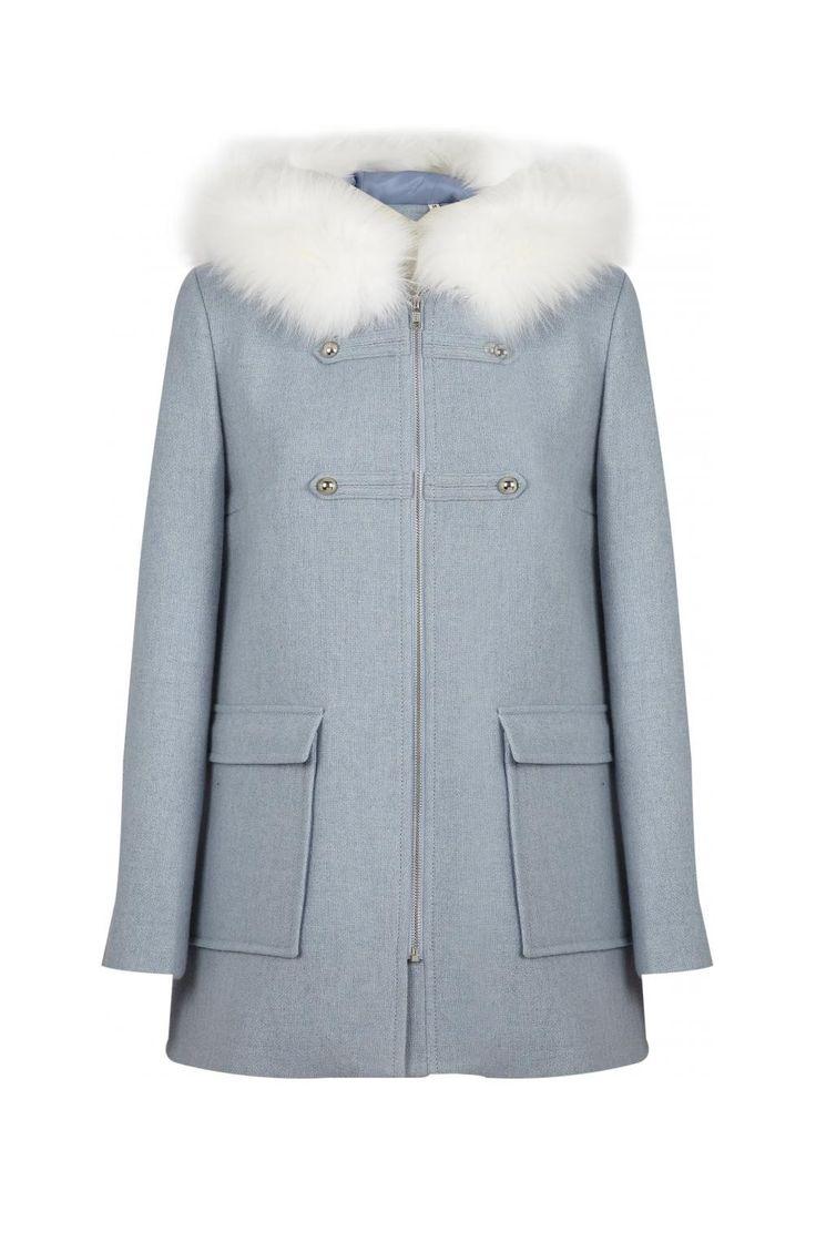Duffle coat forme a fausse fourrure blanche  nuage - droits femme - naf naf 1