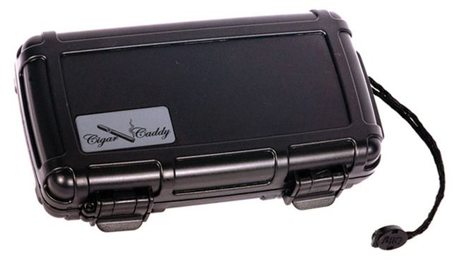 Cigar Caddy 5 - 5 Ct. (Black) Plastic Travel Humidor Water & Crush Resistant - J&N Supplies