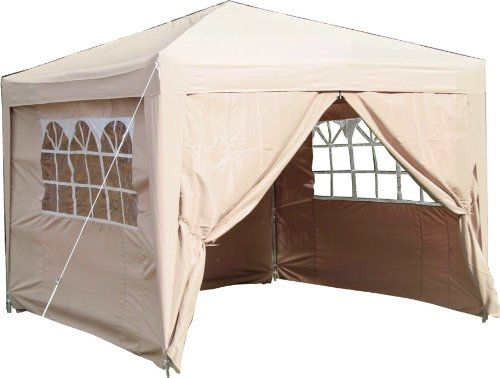 Airwave 3x3mtr Pop Up Waterproof Gazebo in Beige with 2 WindBars and 4 Leg Weight Bags