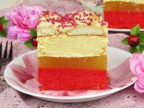 Ciasto Magnolia. Ciasto jest połączeniem biszkoptu, musu ana...