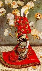 <모네_일본 의상의 여자> 이 무렵 유럽에서는 일본 화풍이 들어오고 많은 화가들을 영향을 받게 된다. 이 작품은 모네가 카미유에게 일본의 전통 의상인 기모노를 입히고 그린 작품이다. 아마도 그 당시 기모노는 유럽인들에게 매우 흥미롭고 이색적인 옷이었을 것이다. 카미유의 하얀 살결과 기모노의 붉은 색이 강하게 대비되어 색다름을 전해준다.