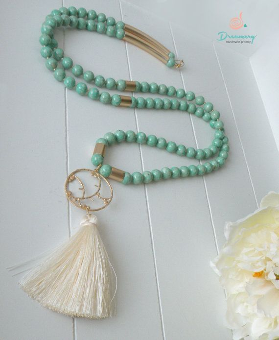 Mint fossil beaded necklace