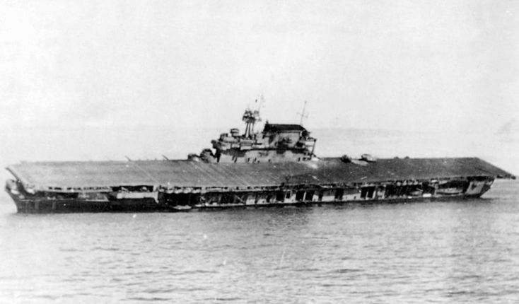 June 4, 1942: The abandoned USS Yorktown CV-5 after the Battle of Midway. Description from maritimequest.com. I searched for this on bing.com/images