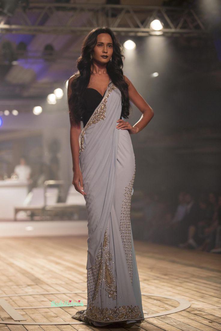 Pale Blue Zardozi Saree - Monisha Jaising - Amazon India Couture Week 2015
