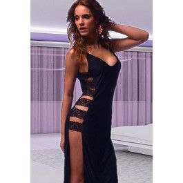Black Long Gown Split Side Connected with Lace Straps