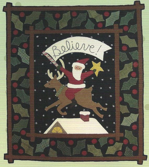 Primitive Folk Art Wool Applique Pattern by PrimFolkArtShop - love the holly leaves in different shades of green!