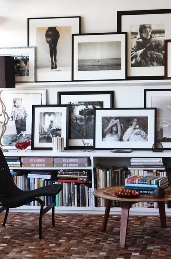 picture shelf to display photography-- love this! Possibly hunting/dog pics in black & white with old barn wood frame in hunting room???