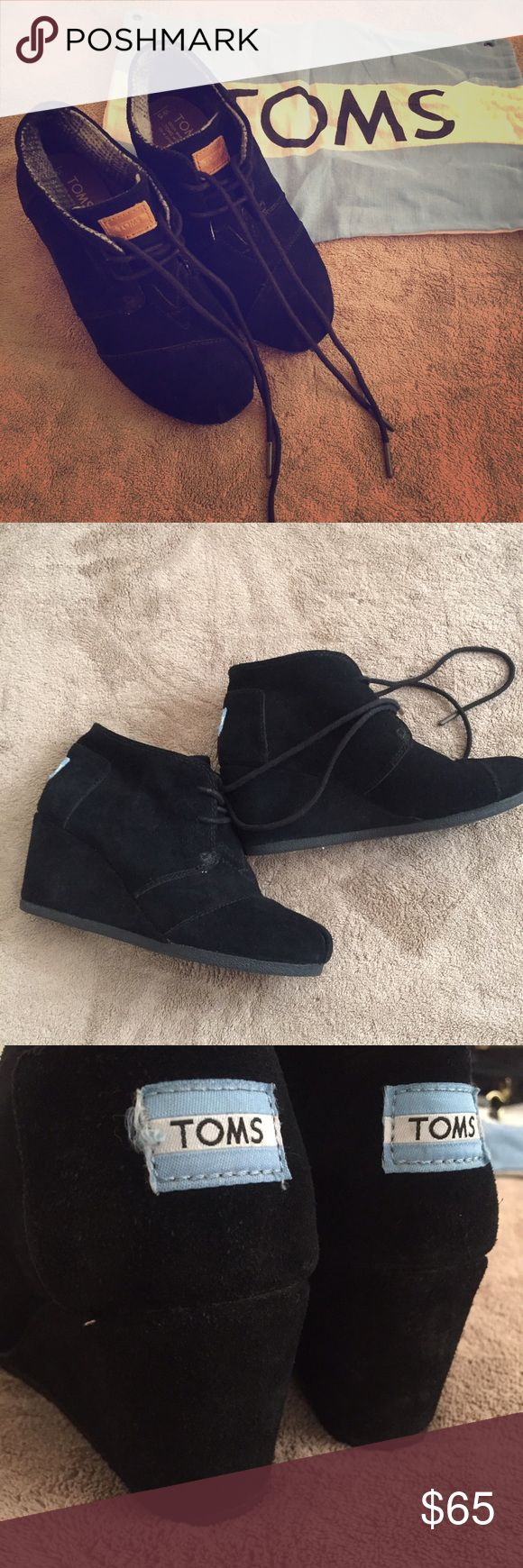 Toms wedge booties Authentic. Comes with it's original dustbag. Condition like new, flawless. Black suede TOMS Shoes Ankle Boots & Booties