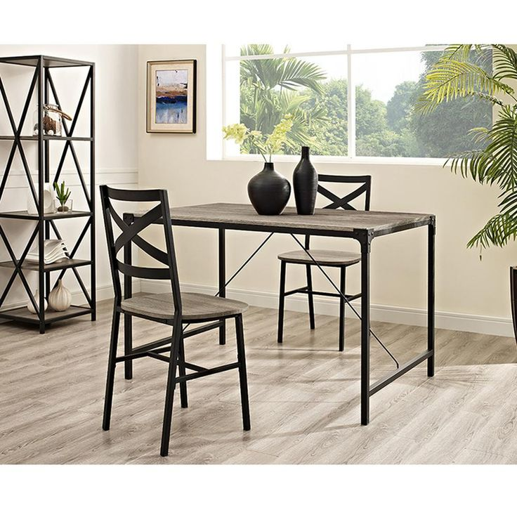 Walker Edison Furniture Company Angle Iron 5-Piece Driftwood Wood Dining Set-HD48WAIAG - The Home Depot