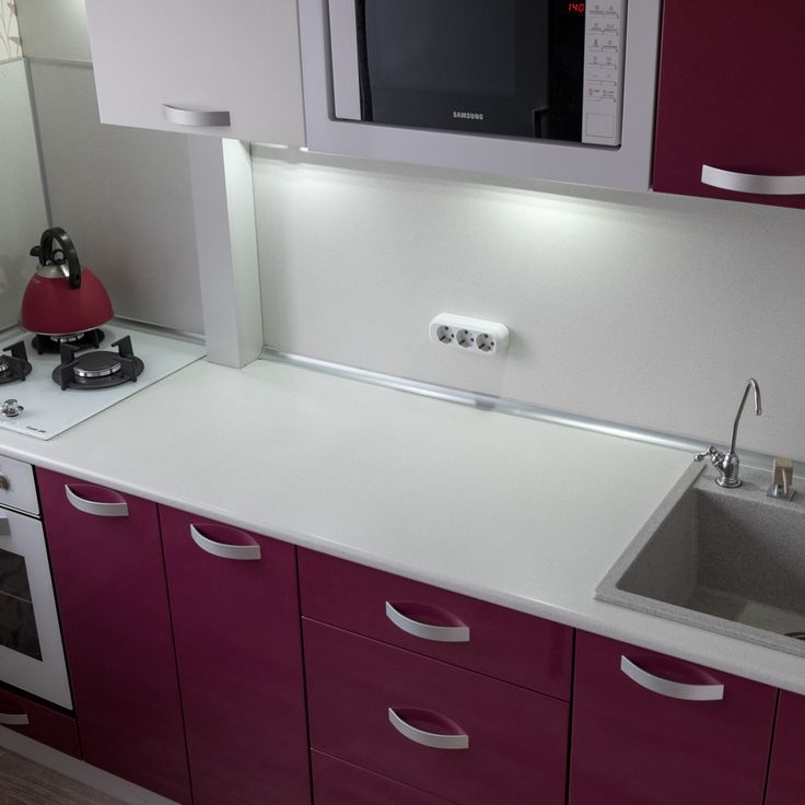Kitchen table, cooker and drain