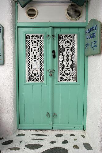 A sea foam door in Mykonos