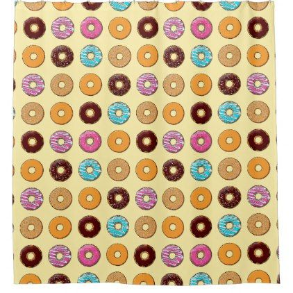 Donut Pattern on Yellow Shower Curtain - shower curtains home decor custom idea personalize bathroom