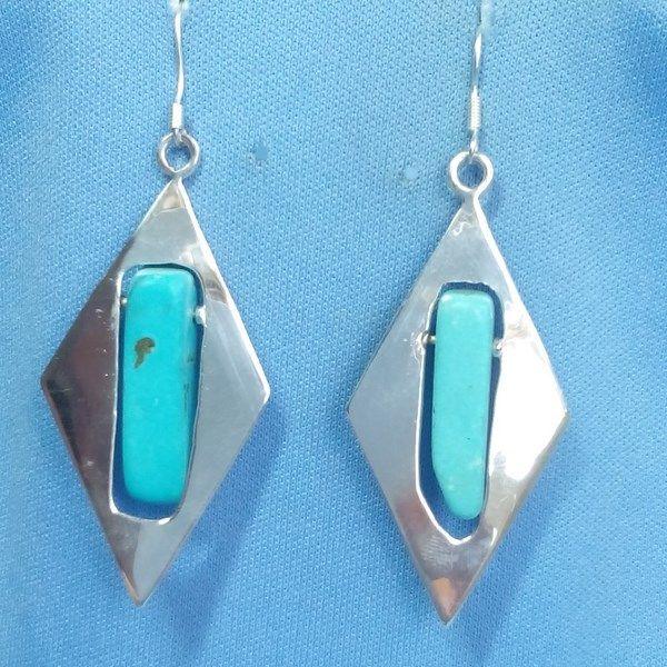 boucles d'oreilles Maya en argent et turquoises