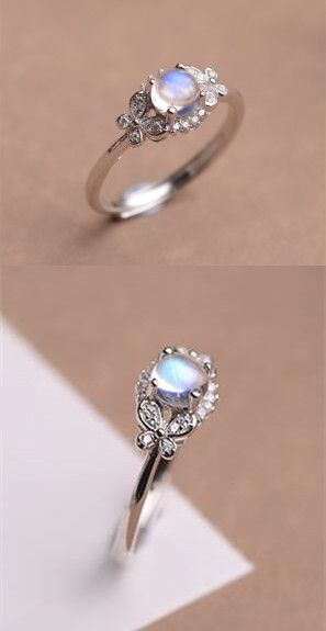 fabulous art deco blue moonstone anniversary / promise ring in silver and rose gold