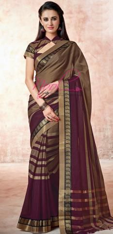 Kovai Cotton Sarees Online Brown Stripes Weaved Collection ND100D116