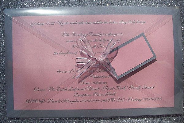 Ref Pink Magic ( we can do any colour) www.weddingcards.co.za