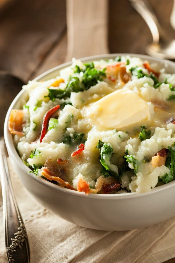 Colcannon - a traditional Irish dish! Made with mashed potatoes with kale (or cabbage), milk (or cream), butter, salt and pepper.