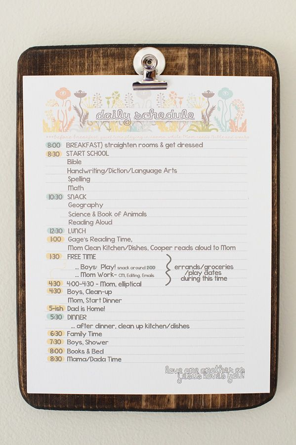 It's no secret to those who love me - I love schedules.  I used to plan out my day like this in grade school, and would love to still do so if life could be so predictable.  I'm in love with this schedule in particular.  Not only is it adorable, it also creates structure for a homeschooling family, but allows for creativity within allotted time periods.  I love the way you think, Lacey Meyers!
