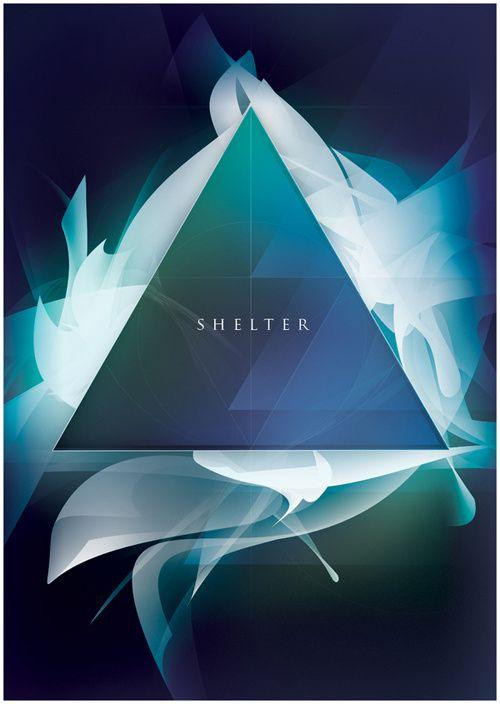 以三角形为元素创作的海报   UI设计网...