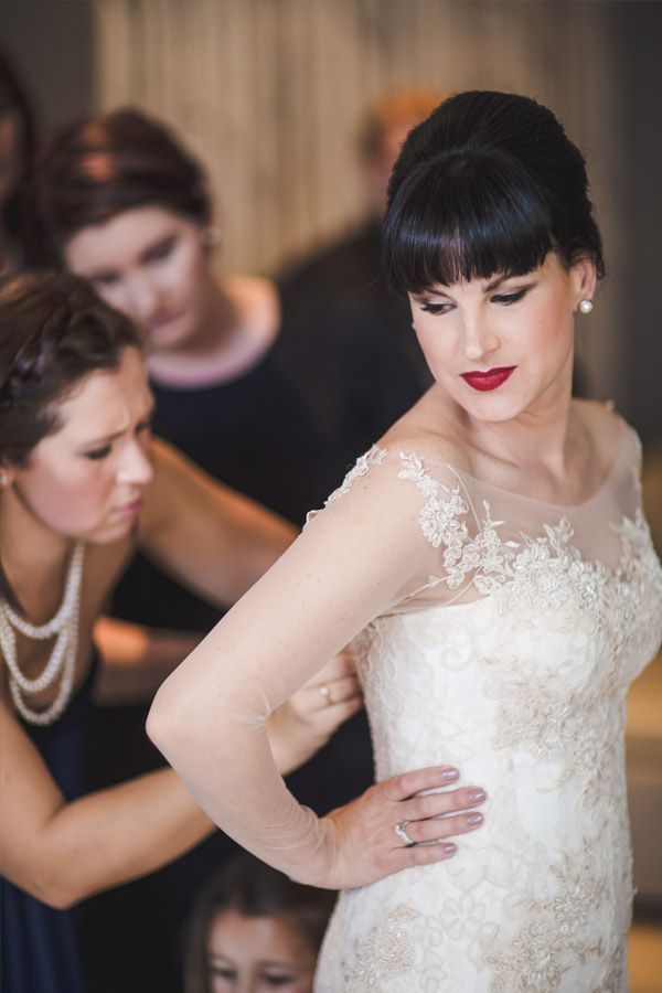 Lace wedding dress with sheer sleeves and a wide, boat neckline.   ROUXLE - Dress by Janita Toerien - Photo by Lilac Photography - www.janitatoerien.co.za (2).jpg