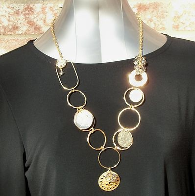 """$20.00.  NWT Chico's Women's Selma Pendant Necklace Goldtone Metal and Glass 30"""" to 32"""".  FREE SHIPPING."""